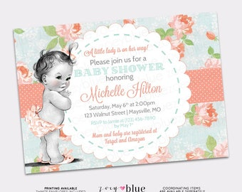 Shabby Chic Baby Shower Invitation - Vintage Baby Floral Coral Turquoise Girl Baby Sprinkle - Girl Floral Baby Shower Roses  -Digital File