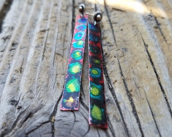 "Hand Painted Earrings and Sterling Silver, Ink Wash Earrings and Sterling Silver, Tie Dye Earrings, 2-1/2"" Long Earrings, Multicolor Earring"