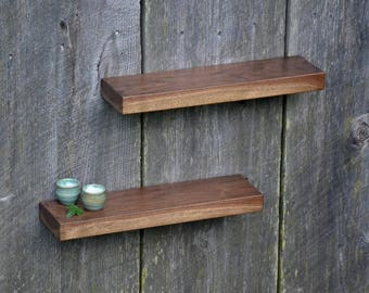 Matching Pair of Walnut Floating Shelves 17 x 4.5