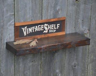 Vintage White Oak Floating Shelf, 34 x 10.25