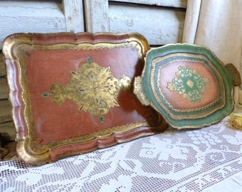 Set of 2 vintage Florentine trays. Italian pink. Green. Vintage Italian gold tray. Venetian gold tray. French cottage. Shabby chic decor