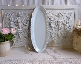Antique french Paris porcelain very long fish platter. Large oval scallop edge platter. Vieux Paris porcelain fish platter. French Nordic
