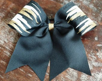 Black Gold and White Paint Drip Cheer Bow / Softball Bow / Dance Bow