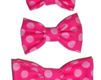 NEW!  Pink Polka Dot Dog Bow Tie