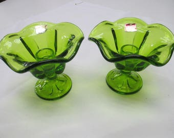 Viking Green Epic Vintage Glass Candle Holders Candle sticks