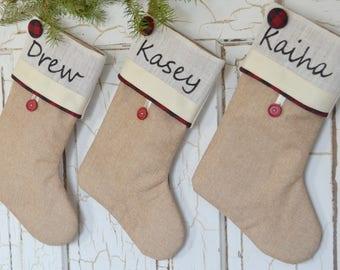 Christmas stocking, Buffalo check rustic burlap stocking, farmhouse style stockings, Personalized Christmas stocking