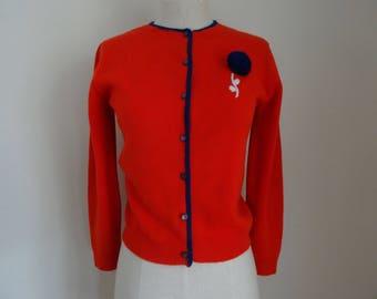 60's Sweater Cardigan Red Rockabilly Mad Men Acrylic Pom Pom Sweater Small