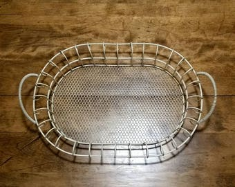 Vintage Rustic Wire Basket, Curved Metal Oval Bread Basket