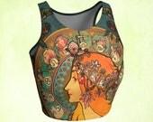 Cropped top, Yoga top, workout top, Mucha Zodiac, Green amber, redhead clothing, boho top, bohemian tank, gift woman, unique gift, art wear
