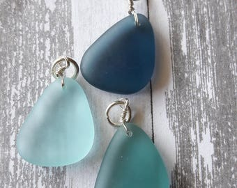 Mixed Blue Simulated Sea Glass Teardrop Charms 3pc Jewelry Making Supplies