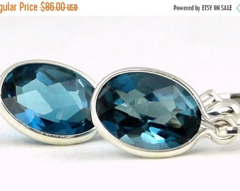 On Sale, 30% Off, London Blue Topaz, 925 Sterling Silver Leverback Earrings, SE001
