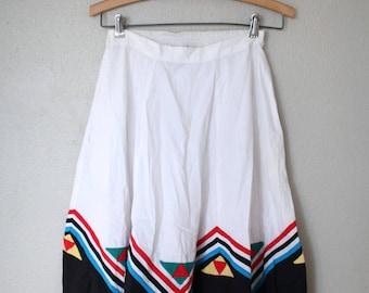 vintage white & black striped full circle skirt with pockets *