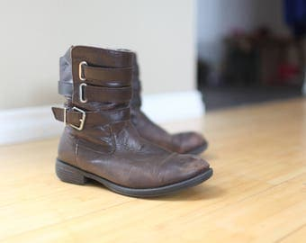 vintage slouchy brown leather ankle boots booties womens 7 1/2