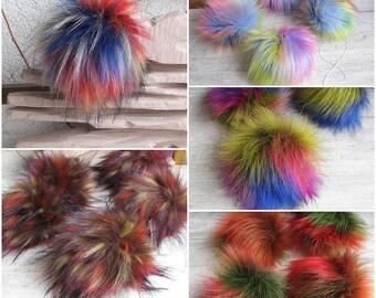 Faux Fur Pom Pom, SET OF 10 , Fake Fur pom pom 12 cm Colorful Fur Ball,  Rainbow Pom Poms