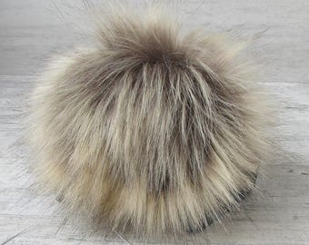 "Extra Large 6"" Brown Beige  Fox Fur Pom Pom Hat Raccoon Pompom Fox Fur Pompom Large Pom Poms Fur Ball"