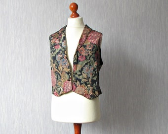 Waistcoat Vest Vintage 80s Floral Gold  Women Fashion Medium Large