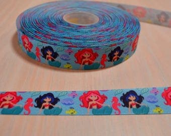 7/8 inch Grosgrain Ribbon - Mermaid