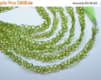 """40%DIS 8.5"""" Strand 5-6mm Natural Peridot Faceted Heart Shape Briolette Beads Strand"""