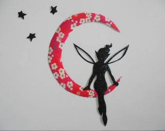 Applied fusible fairy and moon shadow liberty mitsi red fuschia