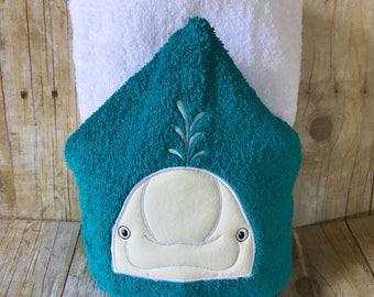 Buluga whale Hooded Towel