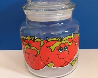 Vintage  Hildi ANTHROPOMORPHIC Vegetable Tomatoes Glass Jar 5.5 Inches with Top