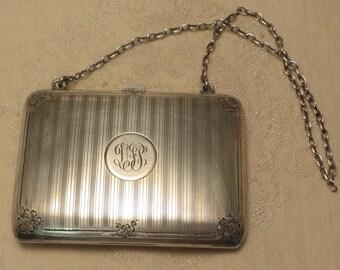 Lovely antique Edwardian Art Deco era Blackinton sterling silver engine turned ladies coin dance card holder purse 3.8 ounces