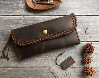 Handcrafted Dark Brown Leather Purse, Pouch, Wallet, Clutch