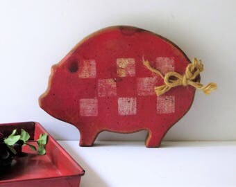 Pig Cutting Board, Small Wood Pig Wall Sign, Red White Checkerboard Pig  Cheese Board
