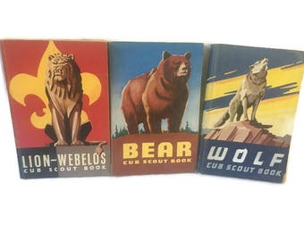 Set of 3 Cub Scout Books, Lion-Webelos, Bear & Wolf Cub Scout Books, 1954, Boy Scouts of America National Council