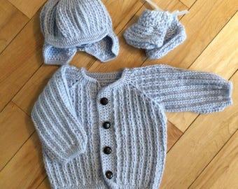 Crochet Sweater Set Baby- 3pc Blue mohair/acrylic wool size 3m
