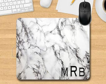 """Mouse Pad. Personalized Mouse Pad. Monogram Mouse Pad. Office Gifts. Teacher Gifts. Promotional Items.""""Marble"""" Look Mouse Pad"""