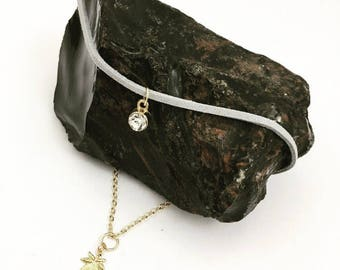 Grey Choker with Delicate Gold Chain Multi Strand Cannabis Chic Stoner Hippie Boho Marijuana Leaf Lifted Karma Project