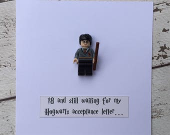Personalised Harry Potter Birthday Card with Harry mini-figure. '18 and still waiting for my Hogwarts acceptance letter' Cool Quirky Unique
