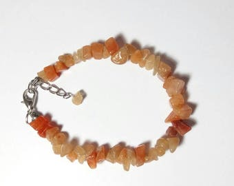 Baroque bracelet with amber Aventurine chips with clasp