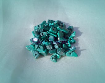 Malachite chips drilled about 70 chips