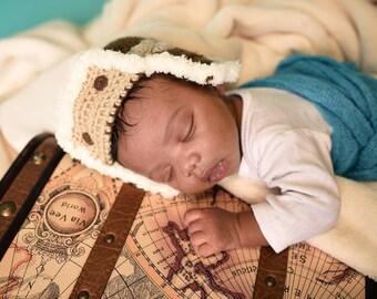 Newborn Aviator Hat - Baby Pilot Hat - Air Force Hat - Pilot Baby Shower Gift - Aviator Baby Shower - Air Force Baby Gift- Pilot Baby Gift