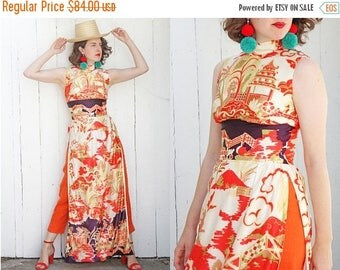 30% OFF Vintage 70s Dress | 70s Sleeveless Asian Print Tunic Dress with High Slits | Small