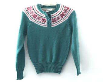 Vintage 80s snowflake sweater fair isle pink green 70s