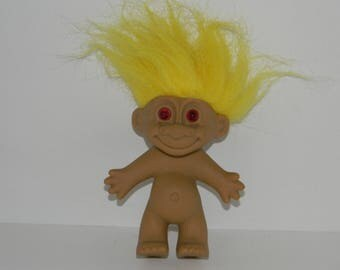 Vintage Russ Yellow Hair Red Eyes Troll Doll 5""