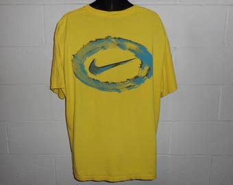 Vintage 90s Yellow Nike Swoosh 2 Sided T-Shirt XL