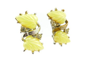 Vintage Yellow Leaf Earrings, Lucite