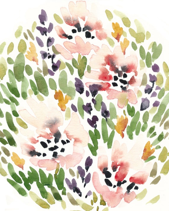 Original 8x10 Flower Garden Watercolor Painting
