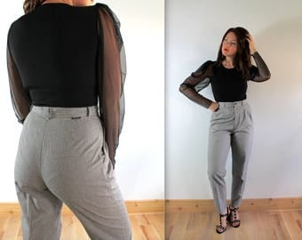 Vintage LEE Houndstooth Black + White High Waist Trousers