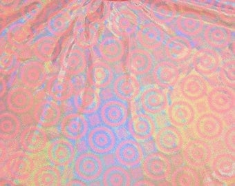 On Point Pink Holographic Spandex Fabric Unicorn Fairy Kei Baby Pastel Pink Peach Princess Party Circles Target Shapes Pattern (By the Yard)