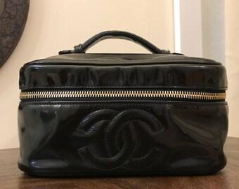 SALE Chanel Handbag Case Black Patent Leather CC Logo Clutch