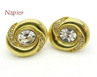 Rhinestone Bridal Earrings - Vintage Napier Oval Gold Tone Clip-on Earrings, Perfect Gift, Gift Boxed