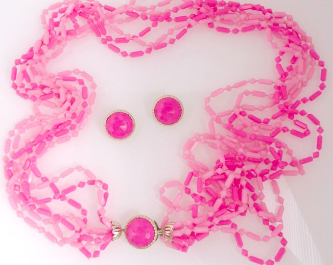 Hong Kong Jewelry Set, Pink Bead Necklace, Clip-on Earrings, Vintage Demi Parure, FREE SHIPPING