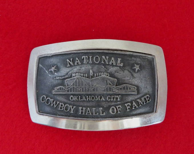 Vintage Cowboy Belt Buckle, National Cowboy Hall of Fame Buckle, Rodeo Western Belt Buckle, Men's Accessory Gift for Him