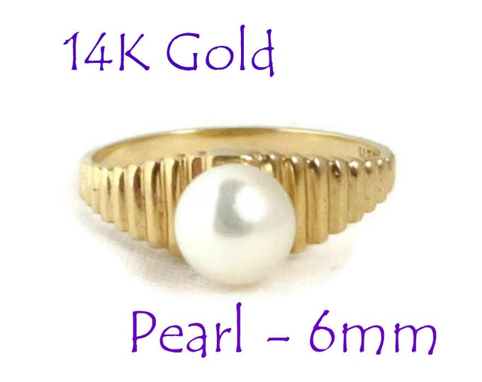 Pearl - 14K Gold Pearl Ring, Vintage Solitaire Pearl Ridged Gold Band Ring, Size 6.5