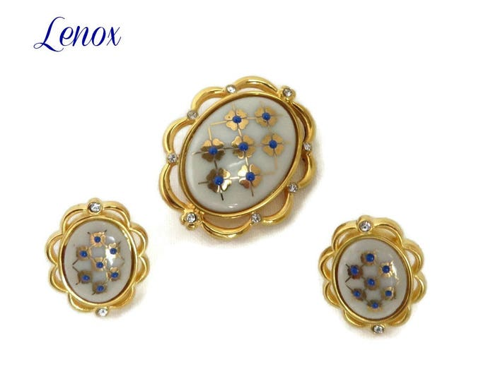 Lenox China Brooch, Earrings - Vintage Blue Dot Ivory China Demi Parure, Gift for Her, Gift Boxed